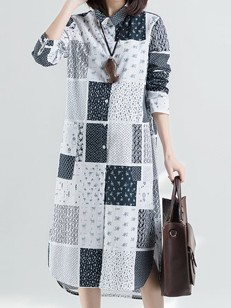 Plaid Patchwork Shirt Dress