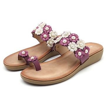 SOCOFY Bohemian Pearl Decoration Slip On Flat Sandals