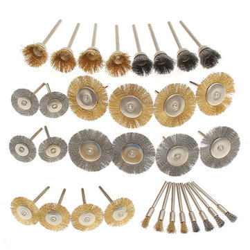 32pcs Wire Steel Brass Brushes Polishing Brush Wheels Set for Dremel Rotary Tool