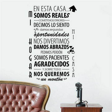 Family Happiness Rules in Spanish Creative Wall Sticker Family Quote Character Home Decoration