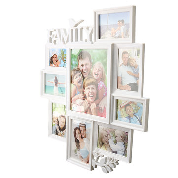 Large Bird Leaf Wall Multi-picture Frame Wall Hanging 9 Family Photo Holder