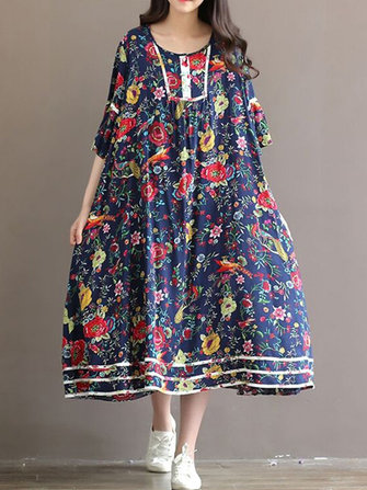Floral Print Retro Loose Flare Sleeve Dress