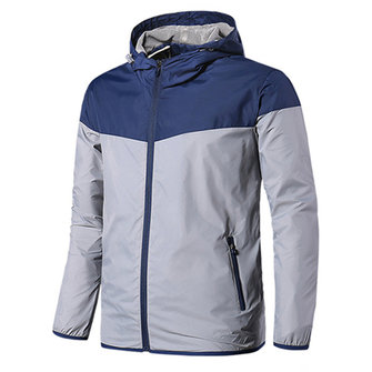 Mens Outdoor Waterproof Windproof Coat Hooded Contrast Color Thermal Jacket 4 Color