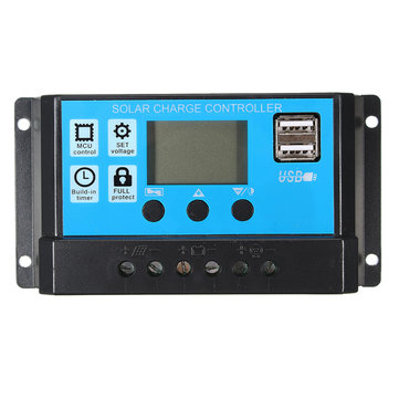 PMW 10/20/30A 12/24V LCD Solar Charge Controller Battery Regulator Backlit