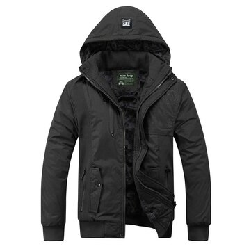 Mens Thick Hooded Water Repellent Jacket Detachable Hood Zipper Pocket Coat