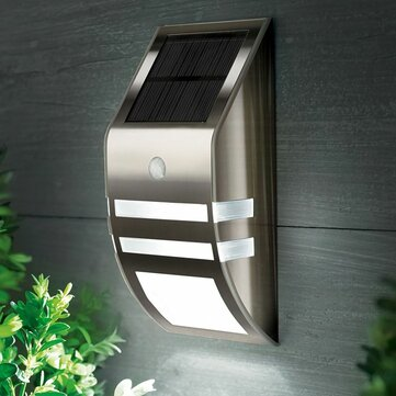 Stainless Steel Waterproof PIR Motion Sensor LED Solar Light Garden Yard Outdoor Wall Lamp Pathway