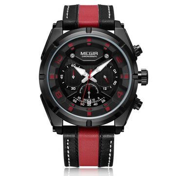 MEGIR 2076 Men Multifunction Chronograph Fashion Leather 3 Dials Date Luminous Display Quartz Watch