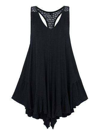 Ruffles Sexy Black Crochet V Neck Backless Stretch Jumpsuit For Women