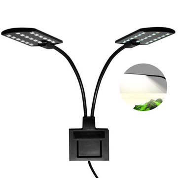 15W Ultra-thin Aquarium Light Compact Fish Tank Light 2 Heads Aquatic Plant Lights EU Plug