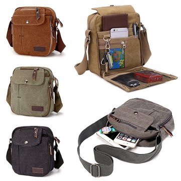 Men Canvas Satchel School Casual Shoulder Messenger Bag Pack Phone Pouch Outdoor Travel Hiking