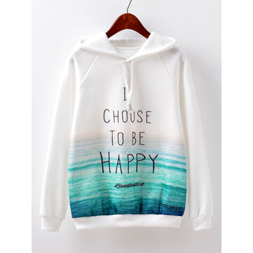 Casual Women Letter Printed Long Sleeve Hoodies
