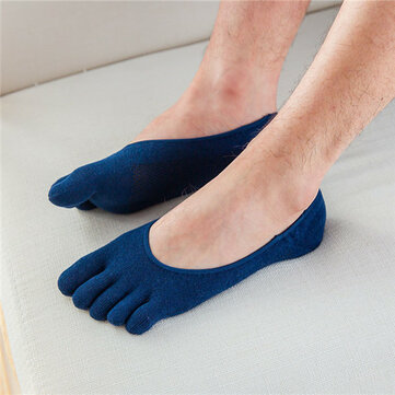 Men Cotton Mesh Breathable Toes Socks Invisible Non-slip Deodorization Ankle Socks
