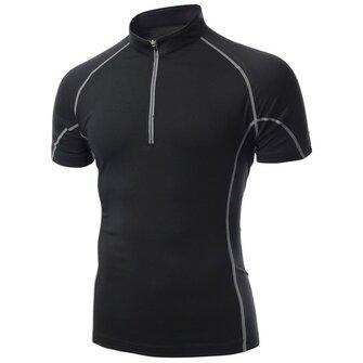 Mens collar del soporte elástico de secado rápido de las camisetas deportivas de manga corta camisetas de ciclismo
