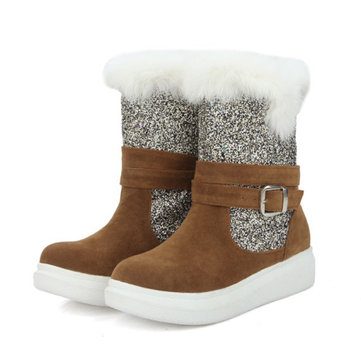 Large Size Stitching Sequined Warm Fluffy Snow Boots