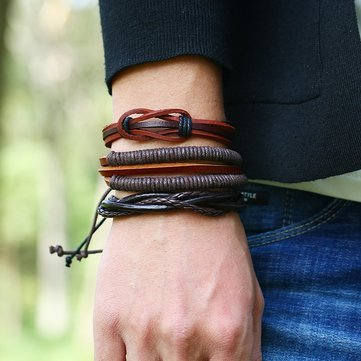 Retro Woven Multilayer Bracelet Soft Leather 6 Pieces Bracelet Set Vintage Men Bracelet