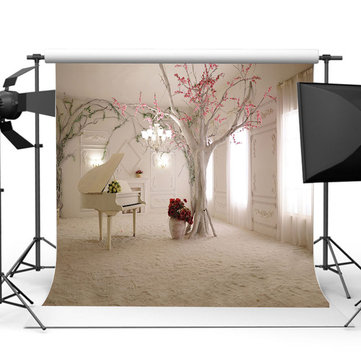 10x10FT White Piano Room Theme Rose Photography Backdrop Studio Prop Background