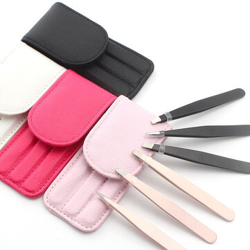 3Pcs 4 Colors Stainless Steel Eyebrow Beauty Tweezers Face Hair Removal With Bag Makeup Tool