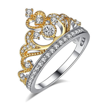 Elegant Women's Gold Plated Heart Zircon Crown Ring Sweet Engagement Jewelry