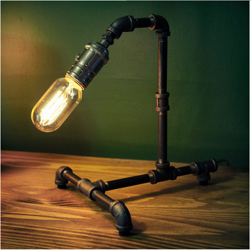 Iron Art Vintage Industrial Retro Style Steel Pipe Desk Table Lamp Light Edison Bulb Lamp Holder