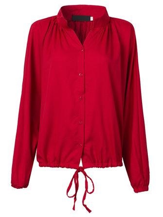 Retro Elegant Women Solid Button O Neck Drawstring Pleated Blouse