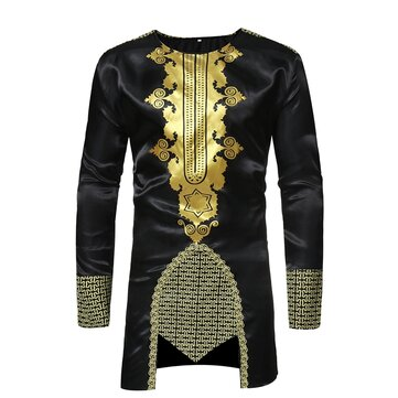 Ethnic Style Printing Long Sleeve Mid Long Tops for Men