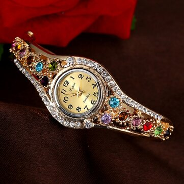 LVPAI XR1959 Fashionable Ladies Bracelet Watch Rhinestone Clock Quartz Watch