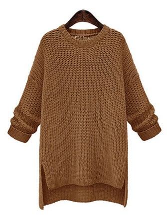 Buy Casual Women Irregular Long Sleeve Pure Color Pullover Sweaters for $43.63 in Banggood store