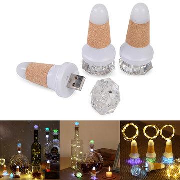 カラフルなダイヤモンドの形のUSB充電式ワインコルクLEDボトルライトフェアリーストリングDIYのクリスマスの装飾