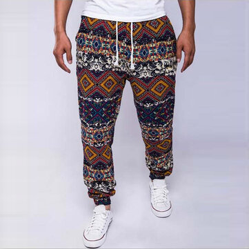 Mens Ethnic Style Vintage Printing Big Size Loose Mid Rise Pants