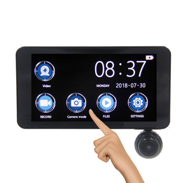 H11 4 Inch 170 Degree Lens Car DVR With Full Glass Touch Screen