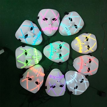 Battery Powered Halloween LED Holiday Light Mask Scary Smiling Face Rave Cosplay with Controller