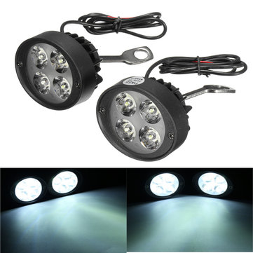 12V Universal Motorcycle LED Rear View Mirror Headlight Motor Bike Fog Light