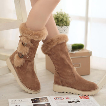 LOSTISY Winter Snow Boots Warm Fur Buckle Platform Mid-calf Boots