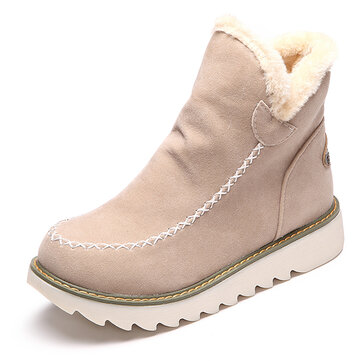LOSTISY Big Size Snow Boots Pure Color Warm Fur Lining Winter Ankle For Women