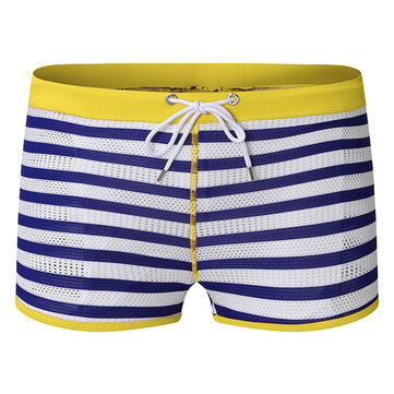 ESCATCH Mens Striped Sexy Mesh Breathable Trunks Fashion Swimwear Beach Shorts