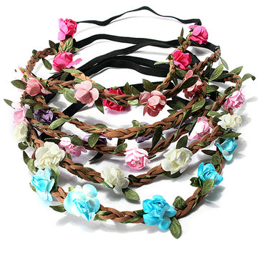 Bride Wedding Crown Boho Rose Flower Floral Wreaths Girls Hair Band