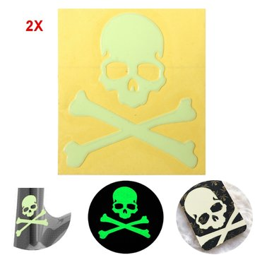2pcs Noctilucent Skull Sticker Glow In The Dark Motorcycle Car Bike