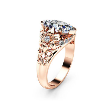 Elegant Luxury Flower Ring Rose Gold Zircon Diamond Women Ring