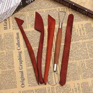 5 pcs Pottery Clay Wax Ceramics Modeling Sculpture wood carving Tools Set