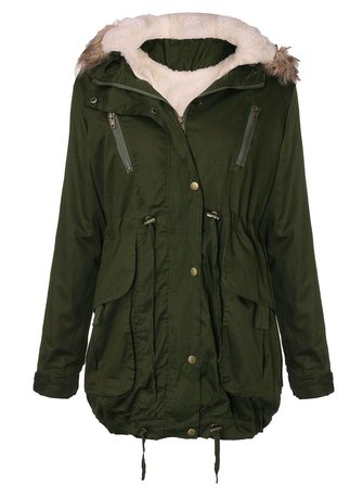 Women Thick Fleece Warm Faux Fur Coat Zip Hooded Parka Jackets