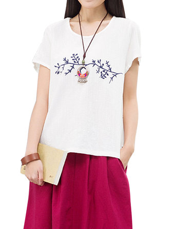 Vintage Women Embroidery White Loose Linen T-Shirt