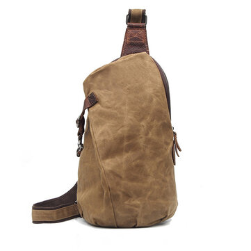Canvas With Leather Waterproof Chest Bag Leisure Vintage Dumpling Bag Crossbody Bag For Men