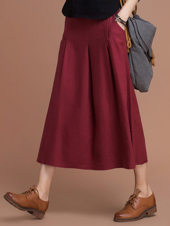 Vintage Women Pure Color High Waist Pockets Skirt