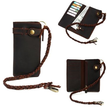 Universal Men Genuine Leather Biker Long Chain Trucker Wallet Card Slot Holder Purse