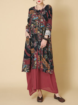 Women Long Sleeve Printed Patchwork O-Neck Two Piece Dress
