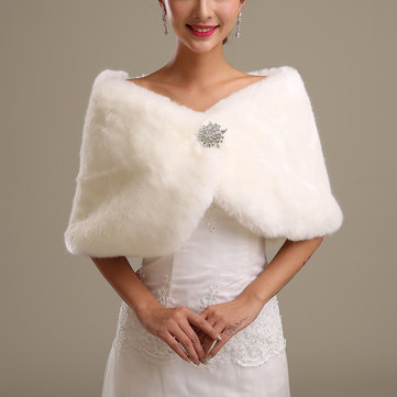 Bride Faux Fur Shawls Wrap Bridal Wedding Dress Accessories Cape Coat Cloak Jacket