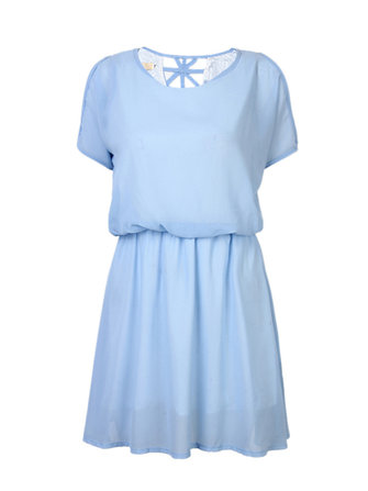 Casual Women Chiffon Strapless Short Sleeve Waist Pure Color Mini Dress