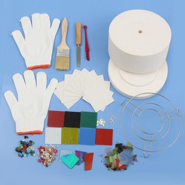14pcs Ceramic Fibre Stained Glass Fusing Supplies Microwave Kiln Kit DIY Jewelry Craft Tool