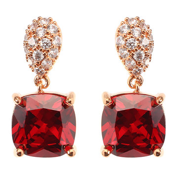 JASSY® Siam Red Gemstone Rose Gold Plated Micro Inlay White Zircon Ear Stud Women Earrings Gift