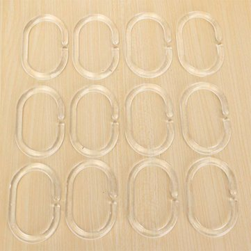 12Pcs Shower Curtain Hooks Plastic Bathroom Shower Curtain Rings Deformable Hanging Hook